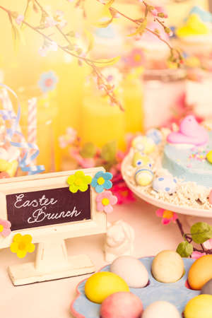 oj: Dessert table decorated for Easter brunch. Stock Photo