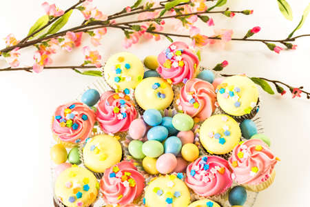 pastrie: Miniature Easter cupcakes with pastel color iving.