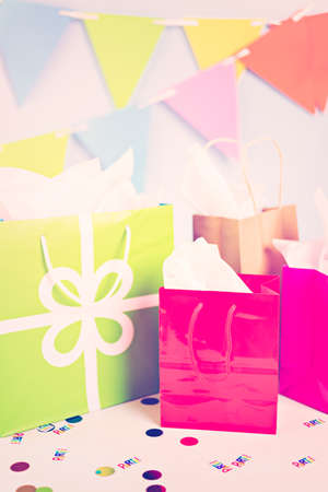 birthday party kids: Gift bags at the kids Birthday party on the table. Stock Photo