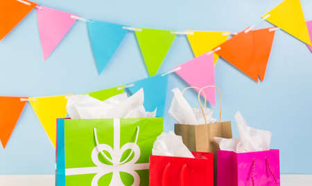 gift bags: Gift bags at the kids Birthday party on the table. Stock Photo