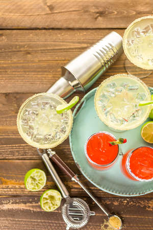 jose: Classic lime and strawberry margaritas on the rocks.