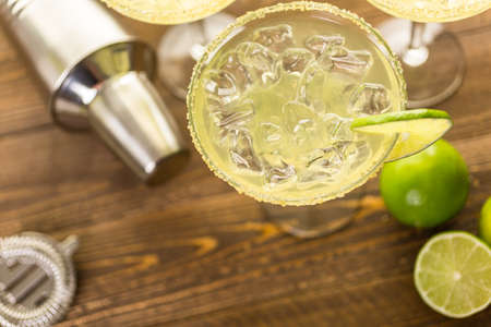 distilled: Classic lime margaritas on the rocks.