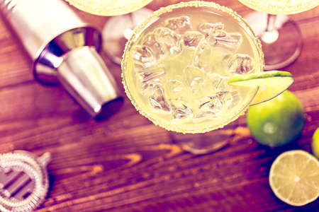 margarita drink: Classic lime margaritas on the rocks.