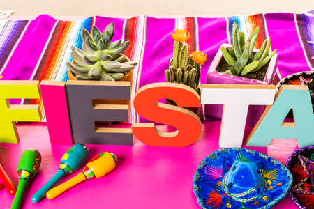 Traditional colorful table decorations for celebrating Fiesta.