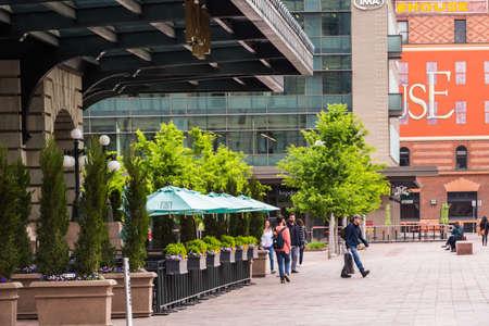 urban redevelopment: Denver, Colorado, USA-May 15, 2016. View of Denver Union Station from Wynkoop Street.