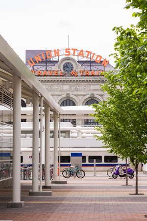 urban redevelopment: Denver, Colorado, USA-May 15, 2016. View of Denver Union Station from Wewatta Street.