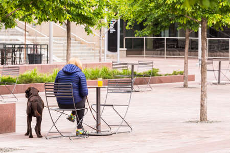 urban redevelopment: Woman sitting with dog in Downtown Denver, Colorado.