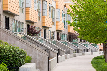 riverfront: Row of contemporary townhomes at the Riverfront development in Denver, Colorado.