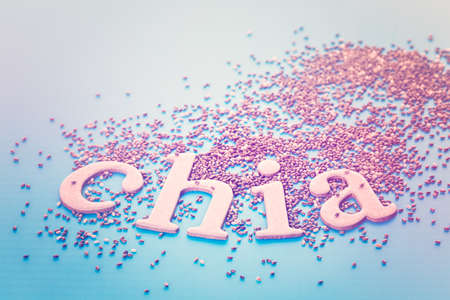 Healthy Chia seeds with chia sign close-up.