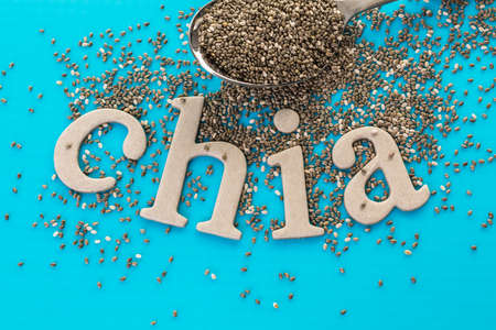 chia: Healthy Chia seeds with chia sign close-up.
