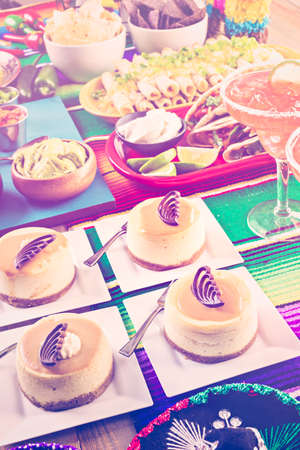 sweetened: Fiesta party buffet table with dulce de lecheand other traditional Mexican food.