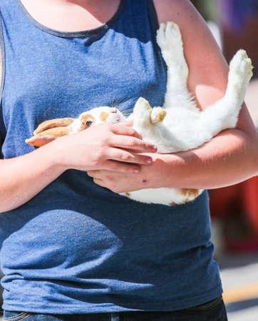 pat: Boy holding his pat bunny rabbit. Stock Photo