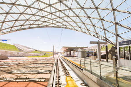 Denver, Colorado, USA-June 1, 2016. Denver Airport commuter rail station in the Summer.