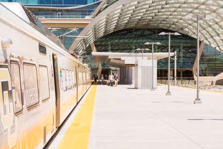 public aquarium: Denver, Colorado, USA-June 1, 2016. Denver Airport commuter rail station in the Summer.