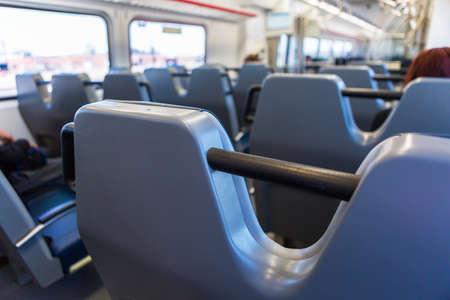 public aquarium: Interior of commuter train from Denver Airport to Denver Union Station.