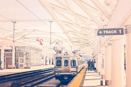public aquarium: Denver, Colorado, USA-June 1, 2016. View of platforms of Denver Union Station in the Summer.