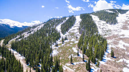 ski area: Aerial view of ski resort in the Summer. Stock Photo
