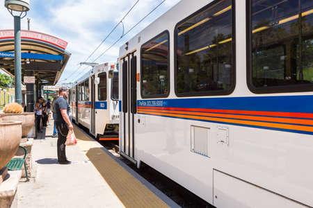 littleton: Denver, Colorado, USA-June 6, 2016. Downtown Littleton light rail station in the Summer. Editorial