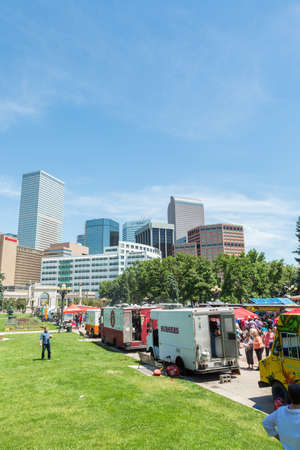 denver city park: Denver, Colorado, USA-June 9, 2016. Food trucks at the Civic Center for Civic Center Eats event. Editorial