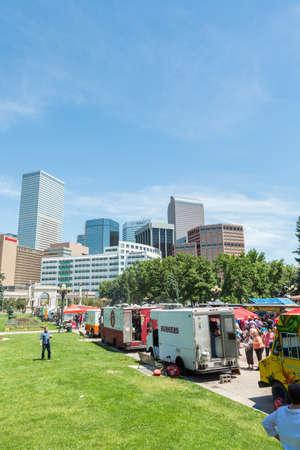 eats: Denver, Colorado, USA-June 9, 2016. Food trucks at the Civic Center for Civic Center Eats event. Editorial