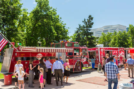 civic: Denver, Colorado, USA-June 9, 2016. Food trucks at the Civic Center for Civic Center Eats event. Editorial