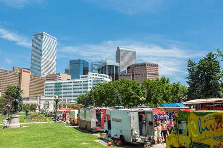 Denver, Colorado, USA-June 9, 2016. Food trucks at the Civic Center for Civic Center Eats event. Editorial