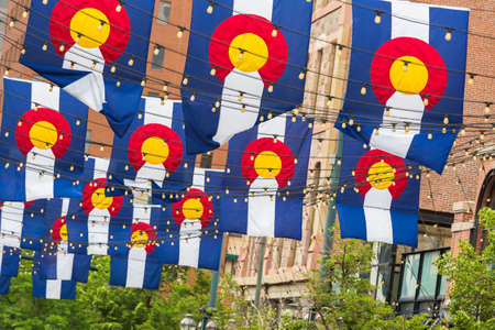 colorado flag: Historical Larimer Squarre in the Summer.