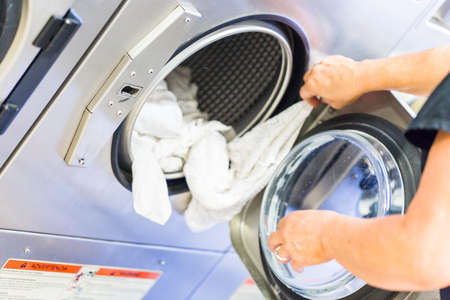 Industrial washing machines in a public