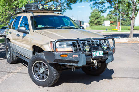 Denver, Colorado, USA-July 7, 2016. Custom built off road truck with steel roof rack and bumpers.
