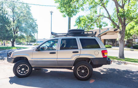 custom built: Denver, Colorado, USA-July 7, 2016. Custom built off road truck with steel roof rack and bumpers.