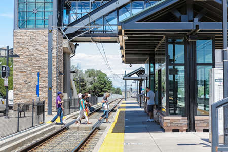 Denver, Colorado, USA-July 20, 2016. View of the Orchard light rail station.