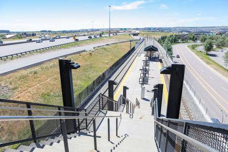 suburbia: Denver, Colorado, USA-July 20, 2016. View of the County Line light rail station. Editorial