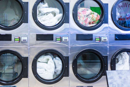 machines: Industrial washing machines in a public laundry