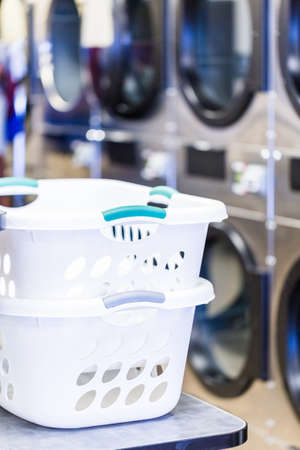washing machines: Industrial washing machines in a public laundry