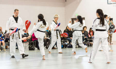 tae kwon do: Denver, Colorado, USA-February 21, 2016. Tae Kwon Do testing for verious degree of black belts. Editorial