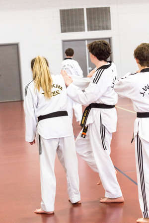 Denver, Colorado, USA-February 21, 2016. Tae Kwon Do testing for verious degree of black belts. Editorial