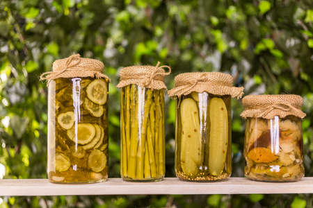 cucumis sativus: Homemade canned organic vegetables in glass jars.
