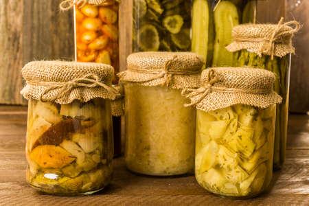 preserve: Homemade canned organic vegetables in glass jars.