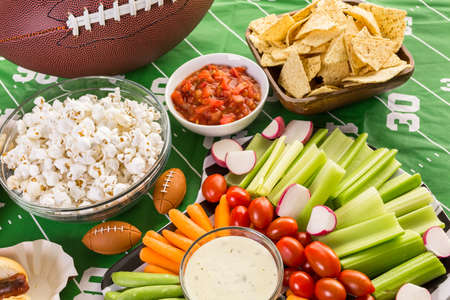 Appetizers on the table for the football party. Archivio Fotografico