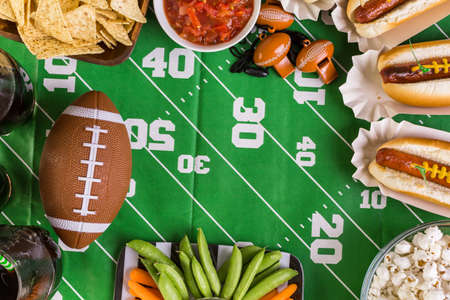 Appetizers on the table for the football party. Stockfoto