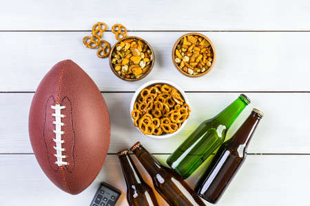 Appetizers on the table for the football party. Stock Photo