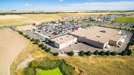 Denver, Colorado, USA-August 21, 2016. Aerial view of typical shopping center.