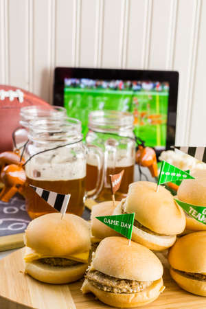 Sliders With Veggie Tray On The Table For The Football Party. Stock Photo,  Picture And Royalty Free Image. Image 62646160.
