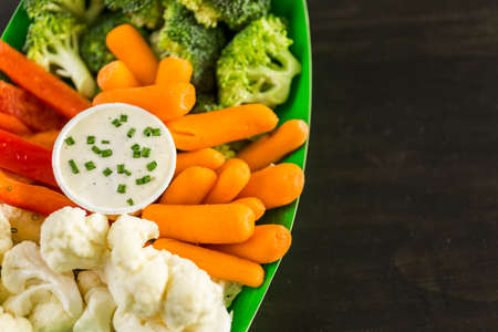 party tray: Veggie tray on the table for the football party. Stock Photo