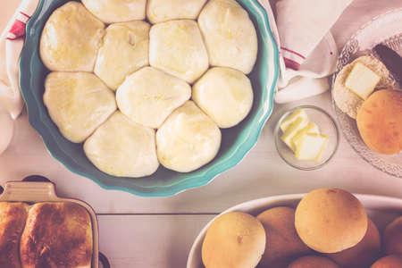 Baking fresh homemade dinner rolls.
