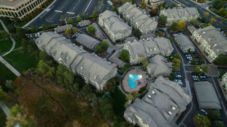 Aerial view of apartment complex in the Autumn.