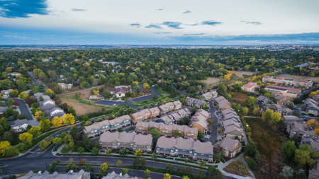 denver buildings: Aerial view of apartment complex in the Autumn.