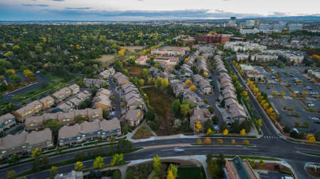 multifamily: Aerial view of apartment complex in the Autumn.