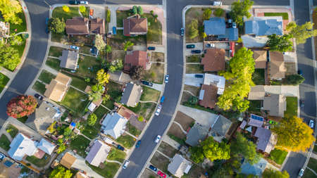 Aerial view of residential neighborhood in the Autumn. Imagens