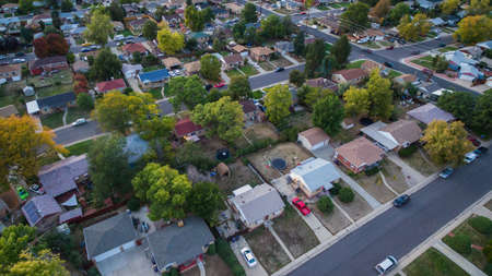 Aerial view of residential neighborhood in the Autumn. Stock Photo
